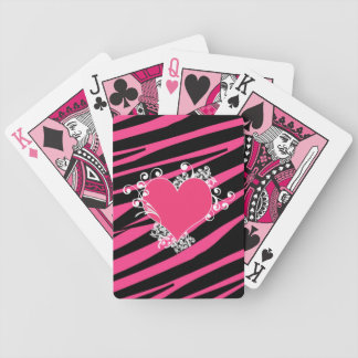 KRWのピンクおよび黒いシマウマの花型女性歌手の誕生日のトランプ バイスクルトランプ