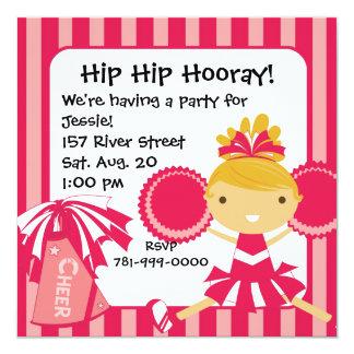 KRWのピンクのチアリーダーの誕生日のパーティの招待状 カード