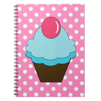 KRWのピンクの点および青いカップケーキのノート ノートブック