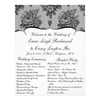 KRWのフランスので黒いレースのカスタムの結婚式プログラム チラシ