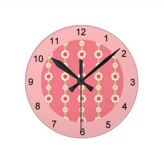 KRWのラズベリーのライムの花柄のストライプの時計 ラウンド壁時計