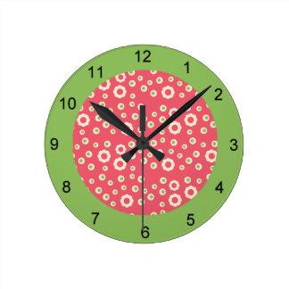 KRWのラズベリーのライムの花柄の時計 ラウンド壁時計