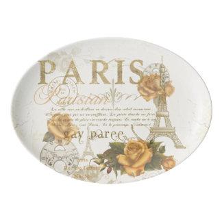 KRWのヴィンテージのスタイルのパリのバラのエッフェル塔の大皿 磁器大皿