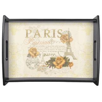 KRWのヴィンテージのスタイルのパリのバラのエッフェル塔の皿 トレー