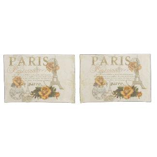 KRWのヴィンテージのスタイルのパリのバラのエッフェル塔の箱 枕カバー