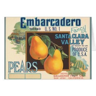 KRWのヴィンテージのEmbarcaderoのナシの木枠のラベル カード