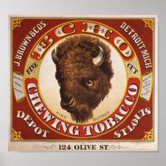 KRWのヴィンテージ1873のエコーのかみ砕くタバコのラベル ポスター