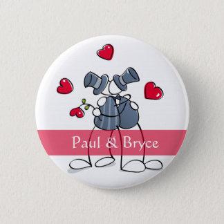 KRWの幸せな新郎のゲイ同志の結婚の好意ボタン 5.7CM 丸型バッジ
