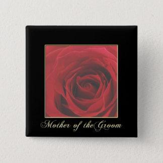 KRWの新郎Pinのエレガントな赤いバラの母 5.1cm 正方形バッジ