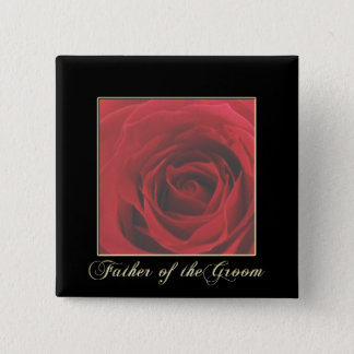 KRWの新郎Pinのエレガントな赤いバラの父 5.1cm 正方形バッジ