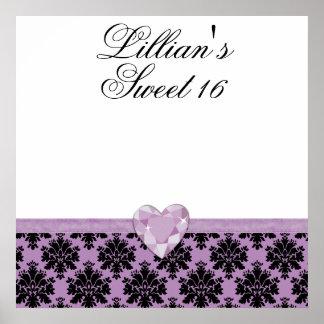 KRWの紫色の宝石のハートの菓子16の自筆ポスター ポスター