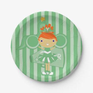 KRWの緑のチアリーダーのパーティの紙皿 ペーパープレート
