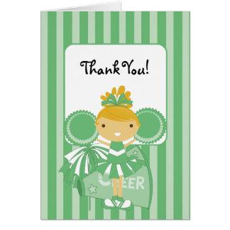 KRWの緑のチアリーダーはノート感謝していしています カード