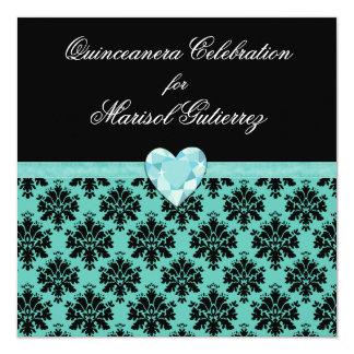KRWの青い宝石のハートのキンセアニェラの招待状 カード