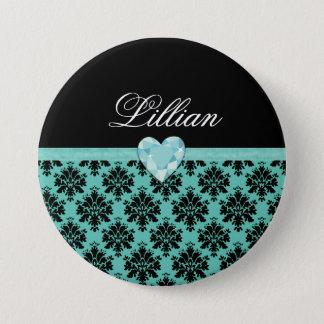 KRWの青い宝石のハートの誕生日の名前Pinかボタン 7.6cm 丸型バッジ