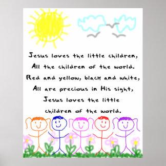 KRWイエス・キリストは幼い子供を愛します ポスター