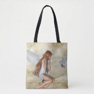 KRWプリントのトートバックをくまなく天使そして鳩 トートバッグ