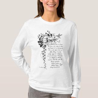 KRW愛は忍耐強いCorinthiansの聖書の引用文のフード付きスウェットシャツです Tシャツ