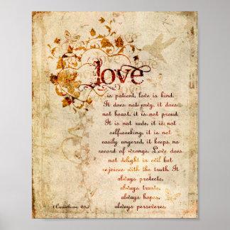 KRW愛は忍耐強いCorinthiansの聖書の引用文ポスターです ポスター