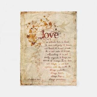 KRW愛はCorinthiansの聖書の引用文毛布です フリースブランケット