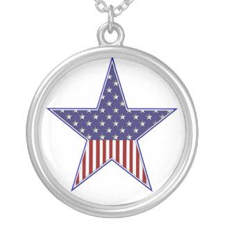 KRW米国の旗の星の純銀製のネックレス シルバープレートネックレス