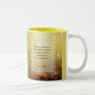 KRW Iはキリスト教の引用文で信じます ツートーンマグカップ