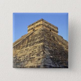Kukulcanの寺院かCastilloの城) 5.1cm 正方形バッジ