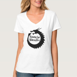 Kundaliniの改革レディースV首の黒のドラゴンT Tシャツ