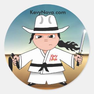 Kung Fuのカウボーイのステッカー! ラウンドシール