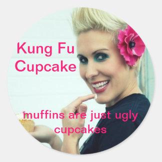 Kung Fuのカップケーキ ラウンドシール