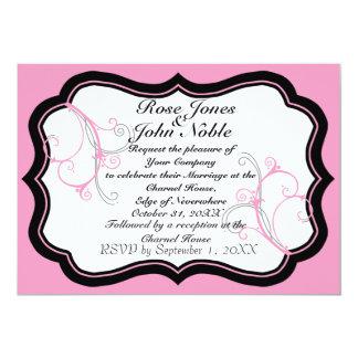 Kurli-QのアイボリーBの(ピンクの)結婚式招待状 カード