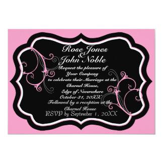 Kurli-Qの黒檀Bの(ピンクの)結婚式招待状 カード