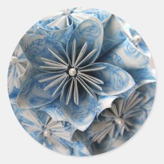 Kusudama青いOrigamiの花 ラウンドシール
