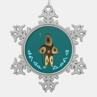 Kuvianak Innovia - Tuvaaqのフラクタルのイヌイット族のハンター スノーフレークピューターオーナメント