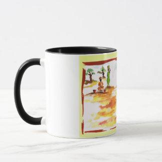 Kwanzaaのアフリカの村の生命を祝って下さい マグカップ