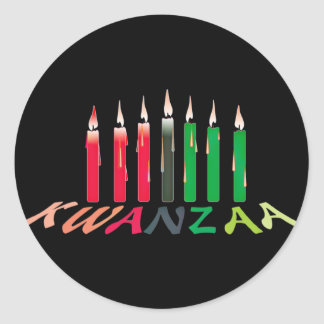 Kwanzaaの蝋燭 ラウンドシール