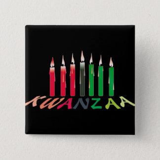 Kwanzaaの蝋燭 5.1cm 正方形バッジ