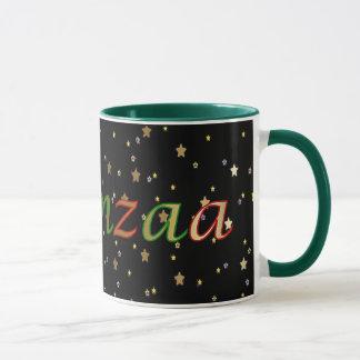 Kwanzaaの黒い金星の赤い緑の信号器のマグ マグカップ