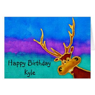 Kyleのハッピーバースデーの間抜けな雄鹿カード カード
