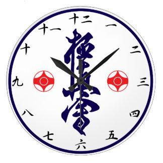 Kyokushinの空手の漢字の時計 ラージ壁時計