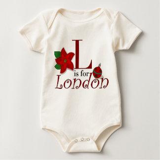 Lはロンドンのベビーの初めてのクリスマスのTシャツのためです ベビーボディスーツ