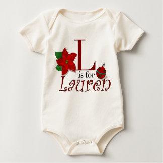 LはLaurenのベビーの初めてのクリスマスのTシャツのためです ベビーボディスーツ