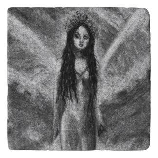 Laのルナの暗い天使の妖精のゴシックの女性のオリジナルの芸術 トリベット