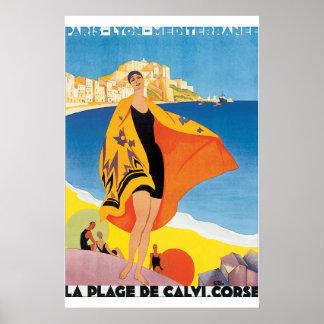Laの浜辺deカルビCorseのヴィンテージ旅行ポスター ポスター