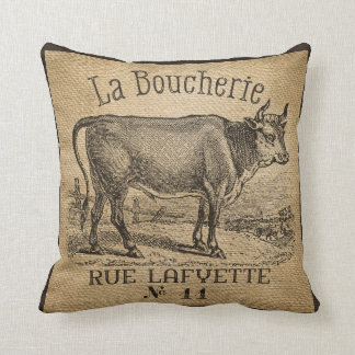 LaのBoucherieフランスのな牛バーラップのヴィンテージ クッション