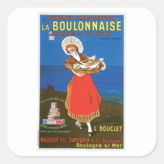 LaのBoulonnaiseによって缶詰にされる魚のヴィンテージの食糧広告の芸術 スクエアシール