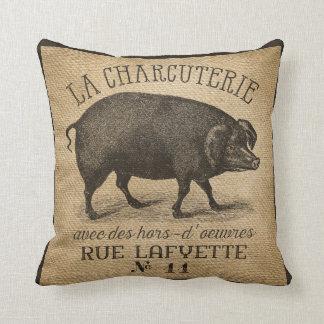 LAのCHARCUTERIEのブタのヴィンテージのバーラップのフランス語 クッション
