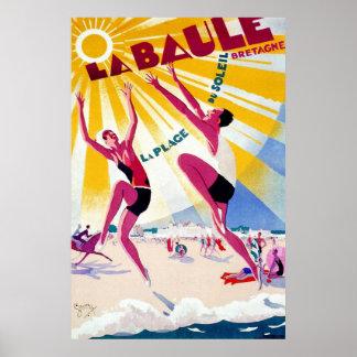 La Bauleのヴィンテージのフランス人旅行ポスター ポスター