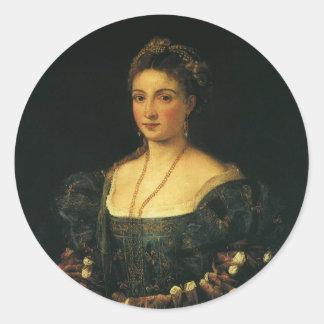 、La Bella Titian著ウルビノの公爵夫人 丸型シール