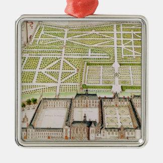 La Fleche 1655年のイエズス会士の大学の眺め シルバーカラー正方形オーナメント